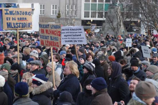 protesting people in Reykjavik