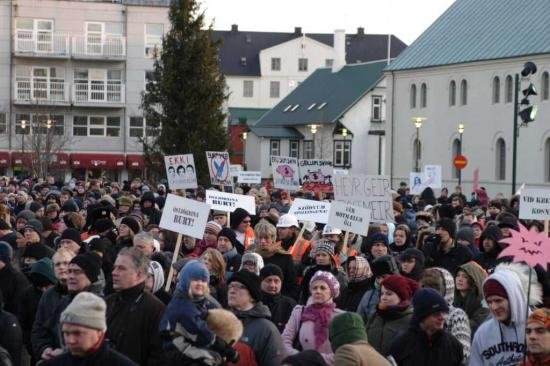 protests against politicians in Reykjavik