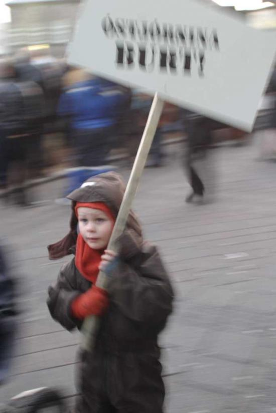protesting child Iceland