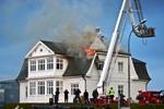Hofdi house in Reykjavik burning