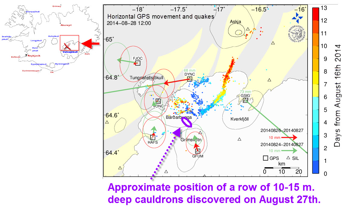 Bardarbunga seismic map - Cauldrons