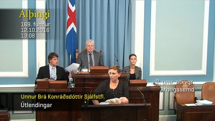 Icelandic MP holds her newborn to breast in parliament