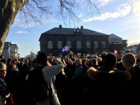Icelanders frequently gather in Austurvollur park, in front of the Parliament building to let their voices be heard, directly to the parliament.