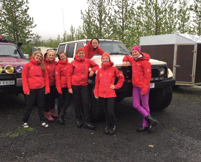 A band of seven Wonder Women crossing Vatnajökull glacier