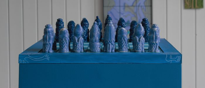 Tupilaq Chess pieces based in Greenlandic folklore made by Icelandic artist Haukur Halldorsson
