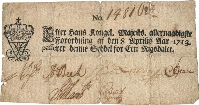 First banknote produced in Denmark sold for 22.8 thousand Euros